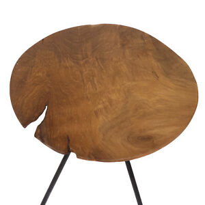 Beistelltisch Teakholztisch Living Room Table Teak Three-Leg Wood Top