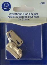 Coats Crafts - Waistband Hook & Bar - Silver - 2 x 25mm - C029