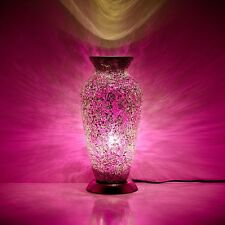 Fabulous  Mosaic Glass Crackle Rose Pink Vase Lamp
