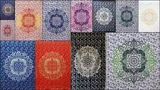 Screen-Print Omber Mandala Tapestry Cotton Fabric Poster Small Door Decor Ethnic