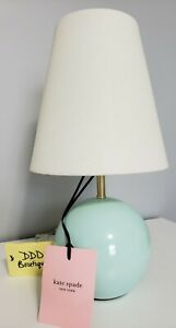 NWT! Kate Spade Light Blue Teal Aqua Small Sphere Circle Ceramic Lamp & Shade