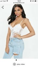 Missguided white strappy lace panel bodysuit. Size 8
