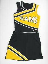 """RAMS Adult Size Cheerleader Uniform Outfit Costume 36"""" Top 32 Skirt Black Gold"""