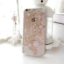 Cartoon Princess Snowflake Clear TPU Soft Cover Case For iPhone 5S 6 6S 7 8 Plus