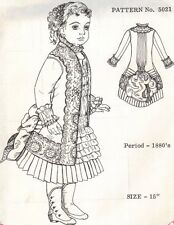 """Period DOLL DRESS PATTERN Victorian German French ANTIQUE vintage look 15"""" 5021"""