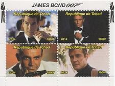 James Bond 007 CONNERY ROGER MOORE Brosnan 2014 miniature Gomma integra, non linguellato FRANCOBOLLO SHEETLET