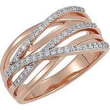 14KT Rose Gold Pave Diamond Ring Wave Cigar Band Design NEW 1/3 CT TW Bypass