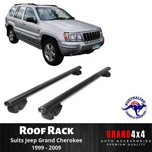 2x BLACK Cross Bar Roof Racks for Jeep Grand Cherokee 1999-2009 Raised Roof Rail