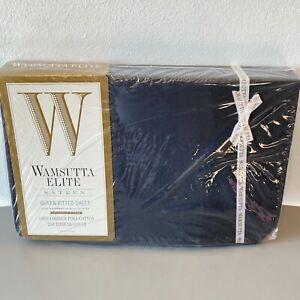 Wamsutta Elite Queen Fitted Sheet Black Sateen Pima Cotton 250TC Ebony USA K1