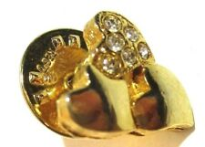 tone lapel tac pin Hearts & Rhinestones Gold