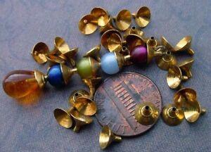 Vintage Small 5 x 6mm Aged Brass Funnel Bead Caps 30