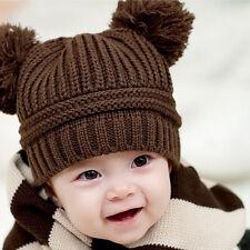 Infant Babys Kids Girls Boys Dual Balls Warm Knitted Cap Beanie Hat Photo Prop