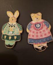 Vintage Rabbit And Bear Refrigerator Magnets