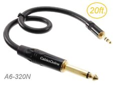 "20ft Premium 3.5mm (1/8"") Stereo Male to 1/4"" (6.3mm) Mono TS Male Cable"