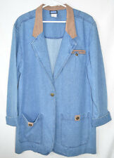 Jantzen Denim Car Coat Jacket Suede-look Collar Single Button Close Women's L