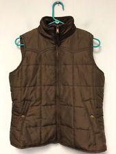CHAPS Womens Puffer Vest Brown Zip Up Coat Corduroy Collar Snap Pockets Size M