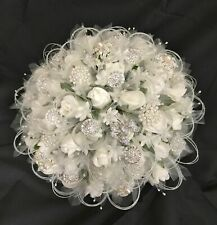 New Vintage Silver Brooch/Pearl Ivory Cream Brides Wedding Bouquet 34cm Dia