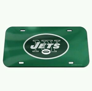 NEW YORK JETS CRYSTAL MIRROR CAR LICENSE PLATE BRAND NEW FREE SHIPPING!