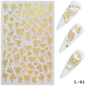 DIY Nail Art Decorations 3D Laser Gold Butterfly Nail Stickers Nail Transfer