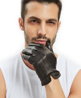 men 2020 whole piece of Italy leather back open short gloves black brown