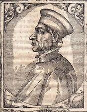 Portrait Bois Gravé XVIe Cosimo di Giovanni de' Medici Firenze Woodcut 1577
