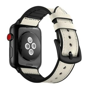 Leather Silicone Apple Watch Band For iWatch Series SE 6 5 4 3 2 38/40mm 42/44mm