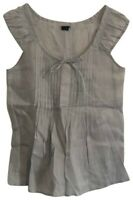 Theory Light Gray Pleated Linen Cap Sleeve Cleon Top SZ S