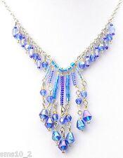 Pretty Two Tone Blue Glass Choker Necklace CJN1217