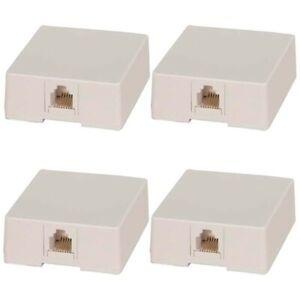 4 Pcs 1-Port RJ12 6P6C Telephone Phone Line Jack Surface Mount Box Modular White