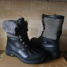 UGG Adirondack II Black Gray Waterproof Leather Short Snow Boots Size 5.5 Womens