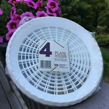 4 Vintage Plastic~white Basket Weave~Paper 9� Plate Holders - Picnic~New In Pkg