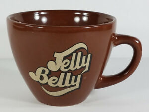 Jelly Belly brown tan beige logo wide round collectible 12 oz. coffee cup mug
