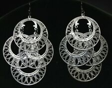 Steam Punk Cyber Boho Bohemian Tribal Gypsy Hoop Hippie Belly Dancing Earrings