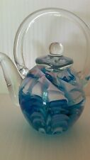 VERY HEAVY TEAPOT STYLE GLASS PAPERWEIGHT BLUE AND WHITE SWIRLS