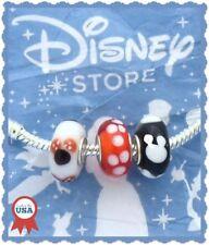 3 Disney MICKEY MINNIE Polka Dot Red Black White European Murano Glass Beads Set
