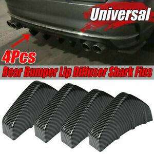 4x Carbon Fiber Auto Car Rear Bumper Lip Diffuser Shark Fins Spoiler Universal