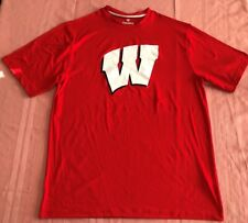 Wisconsin Badgers Synthetic Crew Neck Jersey Shirt Large Red W Logo NCAA
