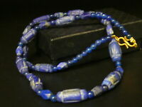(eB5607a)  Necklace with old hand carved Lapis Lazuli beads (roman style)