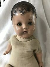 "Antique Doll Composition Sleepy Eye Teeth Molded Hair Cloth Body 17"" (25)"