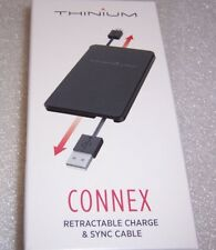 2 Thinium Connex retractable Charge & Sync cables USB-A to Micro USB . Free Ship