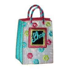 ID 8507 Metallic Thread Mall Shopping Bag Embroidered Iron On Applique Patch