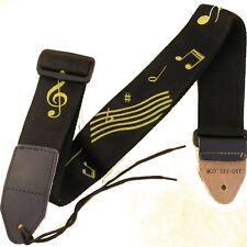 ART GUITAR STRAP WITH YELLOW TREBLE CLEFF AND MUSIC NOTES ELECTRIC ACOUSTIC NEW