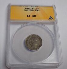 SWITZERLAND Swiss 1880B 10 Rappen 10R ANACS EF40 EF 40 Suisse Certified Coin