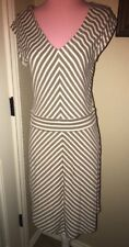 Cremieux  Gray Beige White Stripe Stretch Dress Womens Size M NWT $109