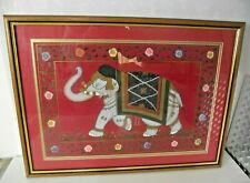 More details for vintage indian elephant hand painted silk picture - red - professionally framed