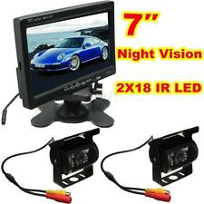 2x IR 18 LED Reverse Camera + 7'' LCD Monitor Car Rear View Kit for Bus Truck