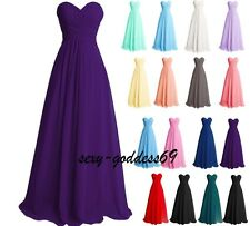 Long Chiffon Bridesmaid Formal Party Evening Cocktail Prom Gown Dress Size 6-24
