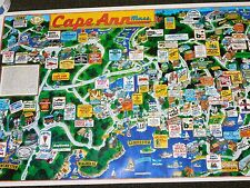 """VINTAGE 36"""" X 24"""" 1985 CAPE ANN MASS TRAVEL STORE ATTRACTIONS MAP POSTER"""