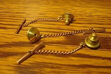 3 Three Brass Tie Backs with Copper Safety Chain Replacement Jewelry Findings