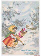 Augurali Buon Natale cartolina vintage con bambina capriolo sciarpe colorate